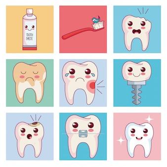 Icônes de jeu de soins dentaires