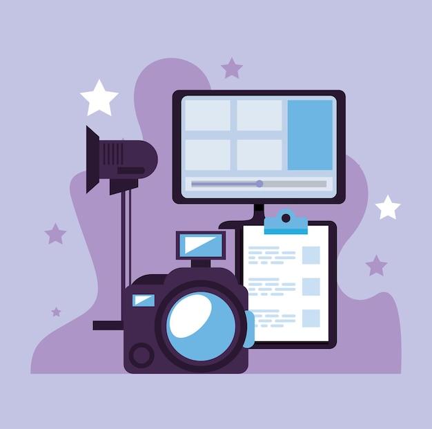 Icônes de jeu de technologie de production vidéo