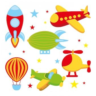 Icônes de jouets au cours de l'illustration vectorielle fond blanc