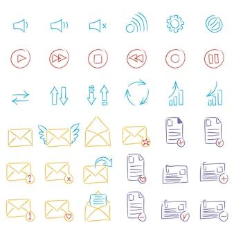 Icônes de joueur, icônes de courrier. illustration vectorielle.