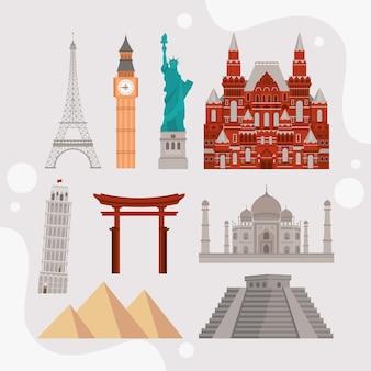 Icônes de la journée mondiale du tourisme