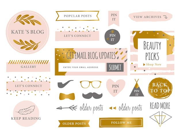 Icônes de kit de blog de marque à la mode symboles et icônes de site web