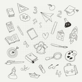 Icônes de kit de papeterie. retour au concept de l'école