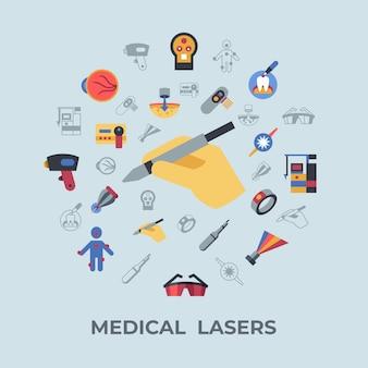 Icônes de lasers de soins de santé