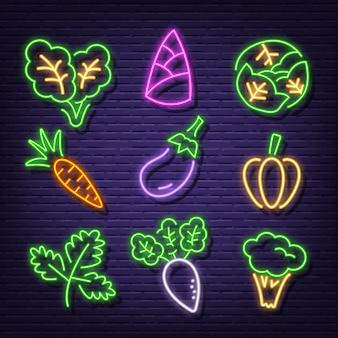 Icônes de légumes au néon