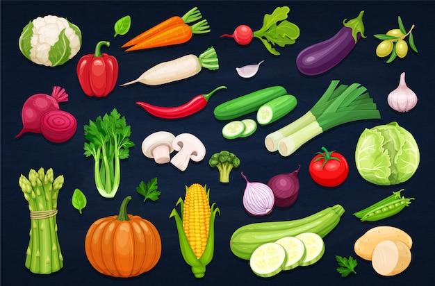 Icônes de légumes définies dans le style de dessin animé.