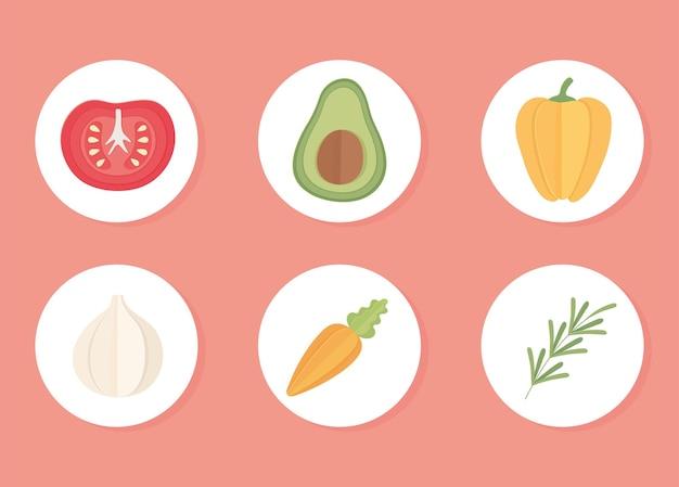 Icônes de légumes frais