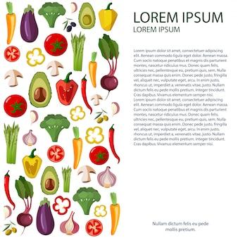 Icônes de légumes mis en style de bande dessinée sur un fond blanc.
