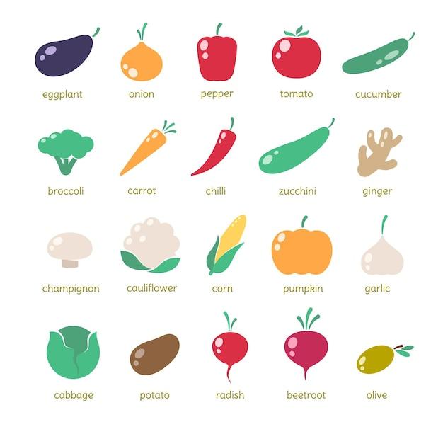 Icônes de légumes simples, grand ensemble d'illustrations