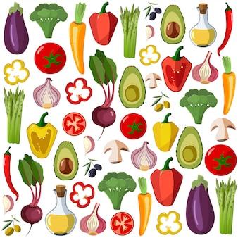 Icônes de légumes vectoriels définis dans un style bande dessinée.