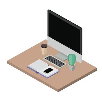 Icônes de lieu de travail des éléments isométriques