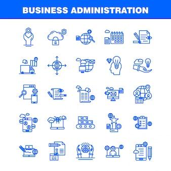Icônes de ligne d'administration des affaires