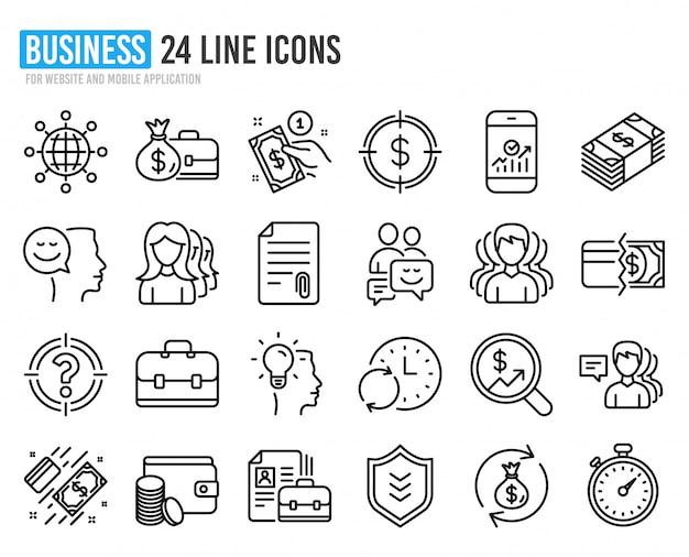 Icônes de ligne d'affaires. groupe, profils et cas.