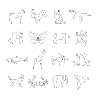 Icônes de ligne animaux origami japonais papier