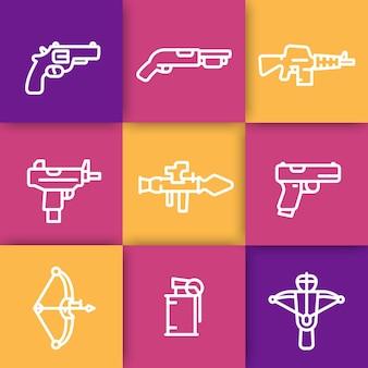 Icônes de ligne d'armes, lance-roquettes, pistolet, mitraillette, fusil, revolver, fusil de chasse, arbalète