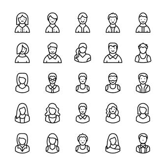 Icônes de ligne d'avatars