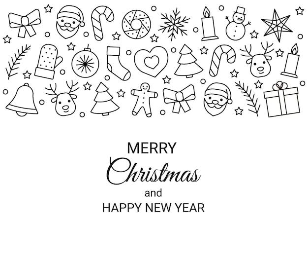 Icônes de ligne de bordure définies pour noël et nouvel an. symbole de contour modifiable. illustration vectorielle