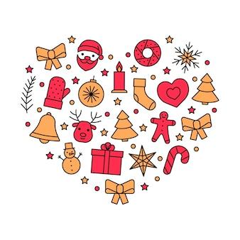 Icônes de ligne en coeur pour noël et nouvel an symbole de contour d'amour de noël