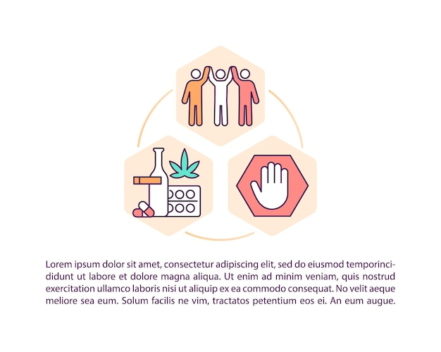Icônes de ligne de concept de centre de réadaptation avec texte
