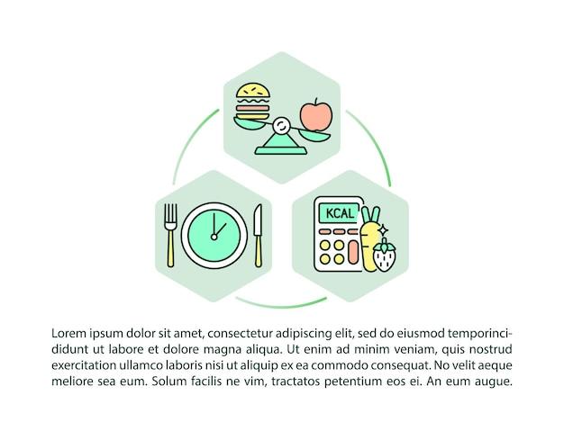 Icônes de ligne de concept de normes de repas scolaires avec texte