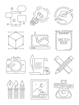 Icônes de ligne créative. processus d'artistes branding blogging symboles graphiques arts isolés
