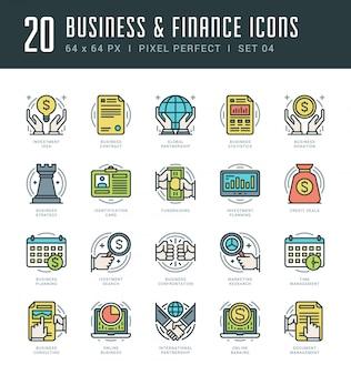 Icônes de ligne définies concept d'affaires et des finances vectorielles tendance moderne plat mince linéaire tendance.
