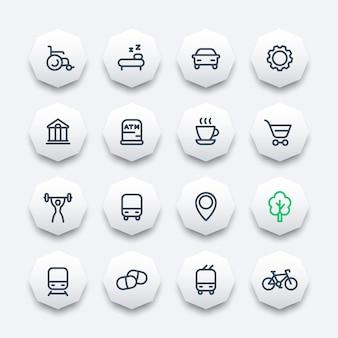 Icônes de ligne définies pour la carte, pictogrammes pour la navigation sur des formes octogonales, illustration vectorielle