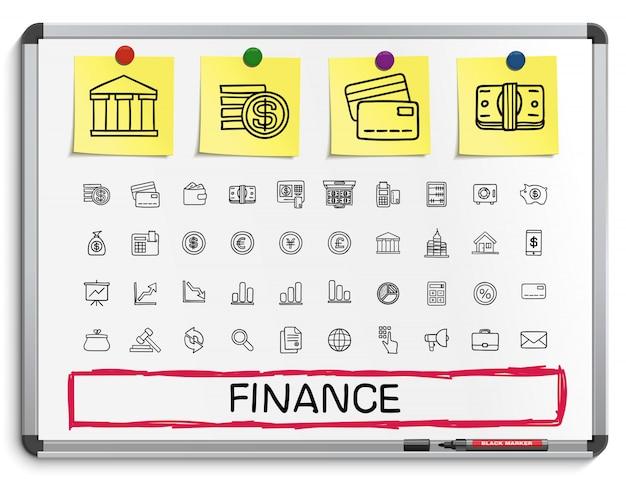 Icônes de ligne de dessin de main de finances. ensemble de pictogrammes de doodle. illustration de signe de croquis sur tableau blanc avec des autocollants en papier. affaires, statistiques, monnaie, argent, paiement, internet, registre.