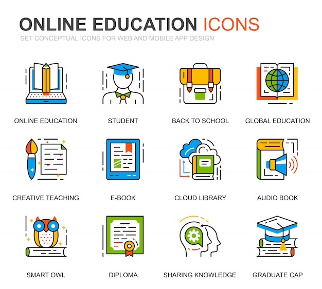 Icônes de ligne d'éducation et de connaissances de jeu simple pour site web