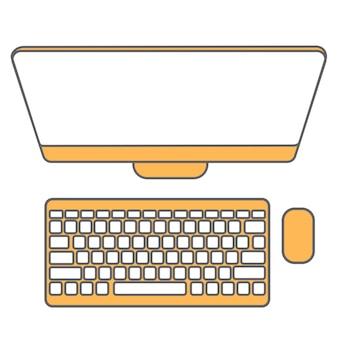 Icônes de ligne éléments de conception plate pictogramme d'ordinateur.