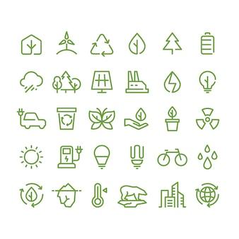 Icônes de ligne environnement écologique et vert, symboles de contour écologie et recyclage