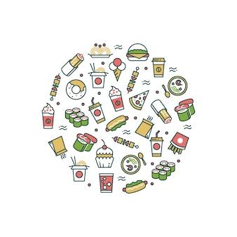 Icônes de ligne de fast-food asiatique dans le concept de forme ronde