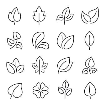 Icônes de ligne de feuilles naturelles. feuilles de plantes eco vert engrais contour pictogrammes