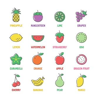 Icônes de ligne de fruits vecteur avec des couleurs plates