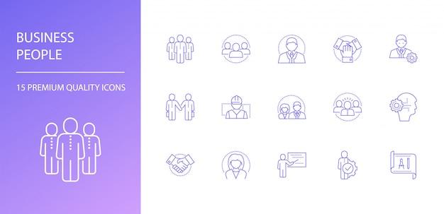 Icônes de ligne de gens d'affaires définies.
