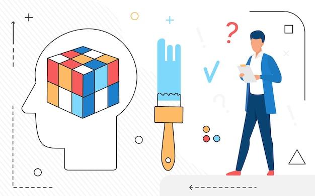 Icônes de ligne d'idée créative d'entreprise et caractère d'homme d'affaires travaillant isolé
