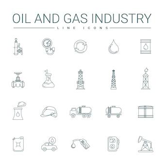 Icônes de ligne de l'industrie pétrolière et gazière