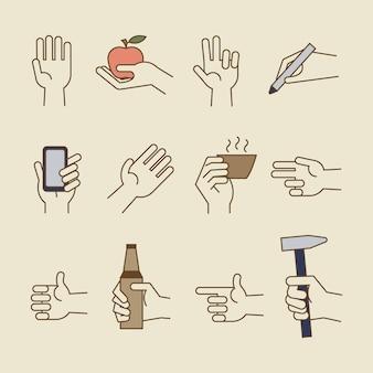 Icônes de ligne de main vintage avec bouteille, coupe
