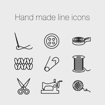 Icônes de la ligne à la main