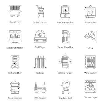 Icônes de ligne de matériel électrique ménager