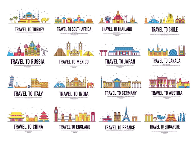 Les icônes de ligne mince de pays voyagent des lieux et des caractéristiques de guide de vacances. grand ensemble de paysage d'architecture