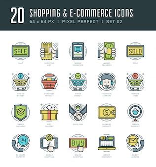 Icônes de ligne plate définie shopping vector mince course linéaire