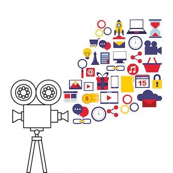 Icônes de ligne plate marketing vidéo