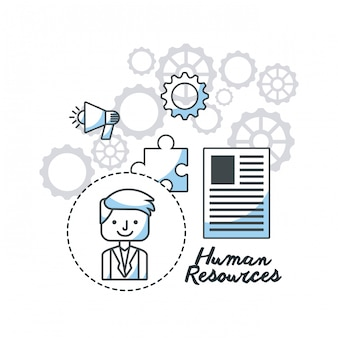 Icônes de ligne plate de ressources humaines