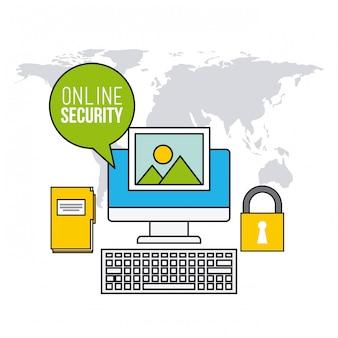 Icônes de ligne plate de sécurité en ligne