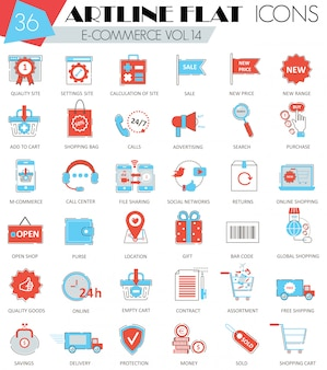 Icônes de ligne plate vecteur e-commerce contour ultra moderne contour artline