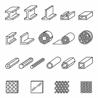 Icônes de ligne de produits de métallurgie sertie de fond blanc. structure et tuyau en acier.