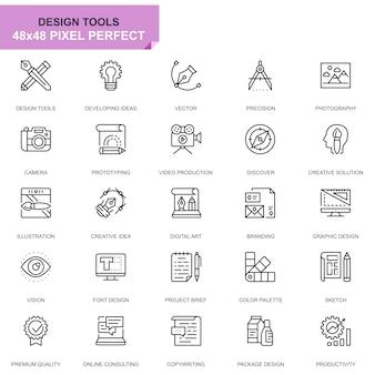 Icônes de ligne simple set design tools