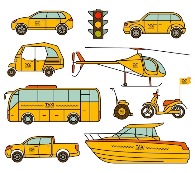 Icônes de ligne de taxi définies. illustration.