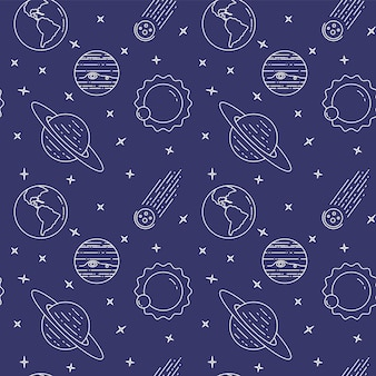Icônes de ligne de voyage dans l'espace. éléments de planètes, astéroïde, soleil, terre. modèle sans couture. concept pour site web, carte, infographie, faire de la publicité papier peint wrap site web textile illustration vectorielle